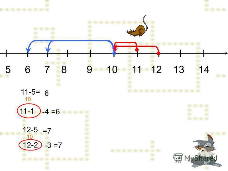 12-2 5 6 7 8 9 10 11 12 13 14 11-5= 11-1 10 -4=6 6 12-5 -3=7 =7
