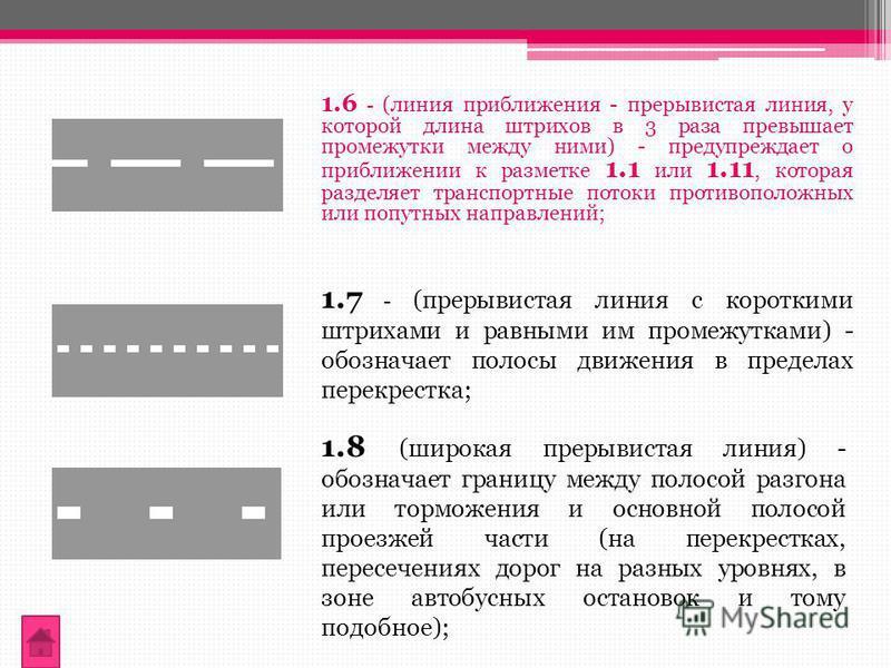 1.6 - (линия приближения - прерывистая линия, у которой длина штрихов в 3 раза превышает промежутки между ними) - предупреждает о приближении к разметке 1.1 или 1.11, которая разделяет транспортные потоки противоположных или попутных направлений; 1.8