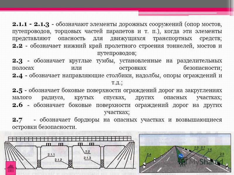 2.1.1 - 2.1.3 - обозначают элементы дорожных сооружений (опор мостов, путепроводов, торцовых частей парапетов и т. п.), когда эти элементы представляют опасность для движущихся транспортных средств; 2.2 - обозначает нижний край пролетного строения то
