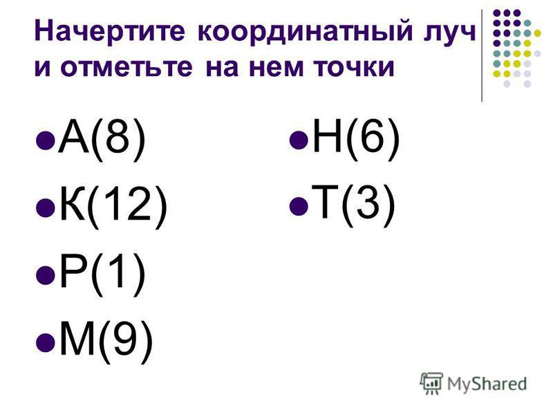 Начертите координатный луч и отметьте на нем точки А(8) К(12) Р(1) М(9) Н(6) Т(3)