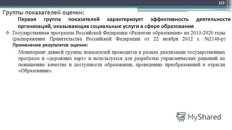 Группы показателей оценки: Государственная программа Российской Федерации «Развитие образования» на 2013-2020 годы (распоряжение Правительства Российской Федерации от 22 ноября 2012 г. 2148-р) Применение результатов оценки: Мониторинг данной группы п