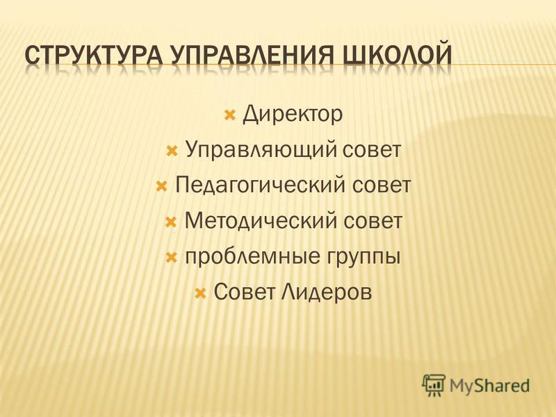 Директор Управляющий совет Педагогический совет Методический совет проблемные группы Совет Лидеров