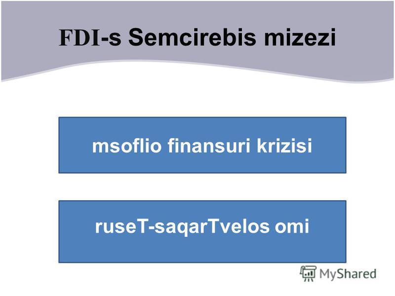 FDI -s Semcirebis mizezi msoflio finansuri krizisi ruseT-saqarTvelos omi