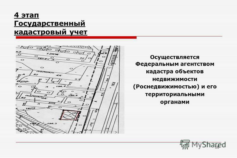 18 4 этап Государственный кадастровый учет Осуществляется Федеральным агентством кадастра объектов недвижимости (Роснедвижимостью) и его территориальными органами