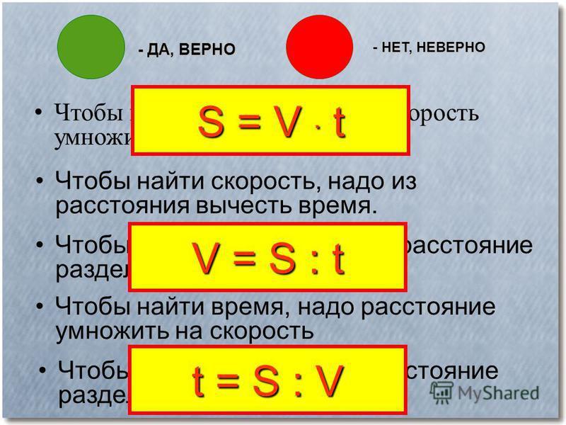 - ДА, ВЕРНО - НЕТ, НЕВЕРНО Ч тобы найти расстояние, надо скорость умножить на время. S = V. t Чтобы найти скорость, надо из расстояния вычесть время. Чтобы найти скорость, надо расстояние разделить на время. V = S : t Чтобы найти время, надо расстоян