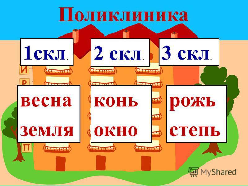 1 скл. 2 скл. 3 скл. весна земоя кони окно рожь степь Поликлиника