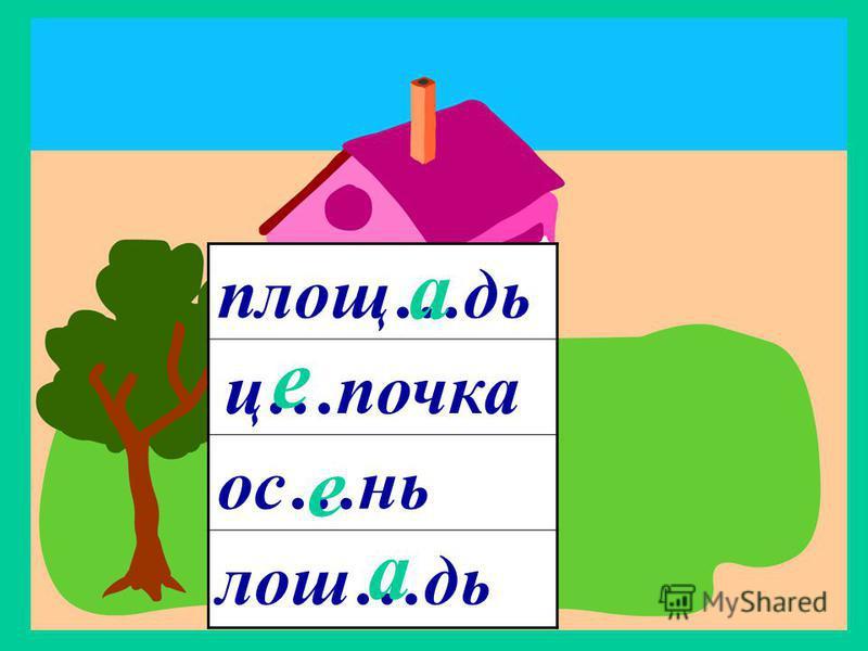 ж.р. 3 склонение площ…дь ос…ни лож…дь ц…почка е е а а