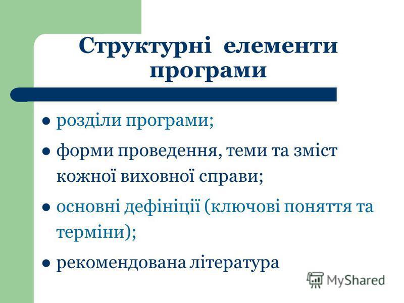 розділи програми; форми проведення, теми та зміст кожної виховної справи; основні дефініції (ключові поняття та терміни); рекомендована література Структурні елементи програми