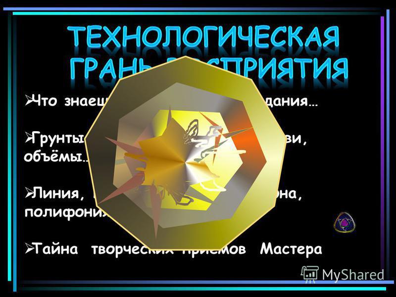 Что знаешь о технологии создания… Что знаешь о технологии создания… Грунты, мазки, лессировки, плави, объёмы… Грунты, мазки, лессировки, плави, объёмы… Линия, пятна, диалог цвета, тона, полифония… Линия, пятна, диалог цвета, тона, полифония… Тайна тв