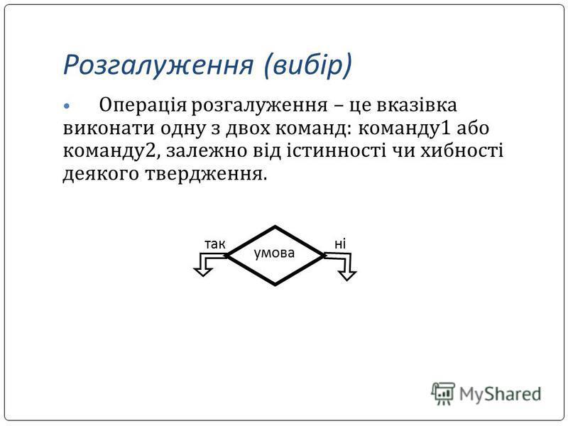 Розгалуження (вибір) Операція розгалуження – це вказівка виконати одну з двох команд: команду1 або команду2, залежно від істинності чи хибності деякого твердження. такні умова
