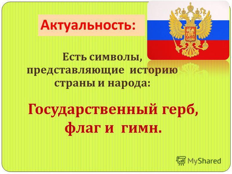 Актуальность : Есть символы, представляющие историю страны и народа : Государственный герб, флаг и гимн.