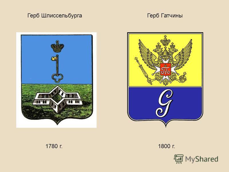 Герб Шлиссельбурга 1780 г. Герб Гатчины 1800 г.