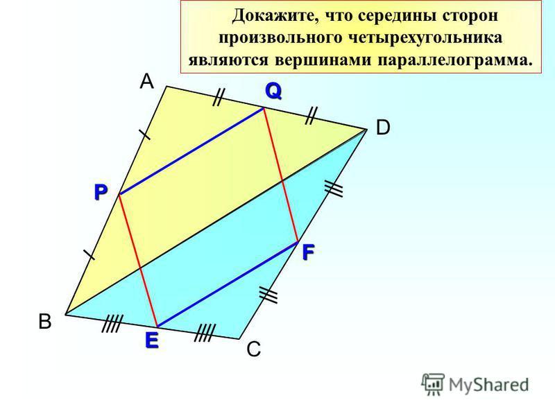 В А D Докажите, что середины сторон произвольного четырехугольника являются вершинами параллелограмма. Р СQ E F