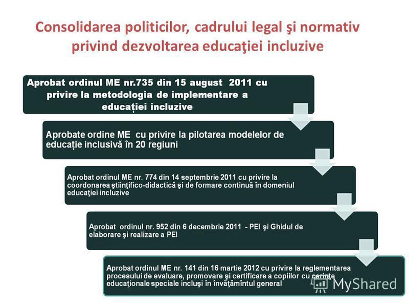 Consolidarea politicilor, cadrului legal şi normativ privind dezvoltarea educaţiei incluzive