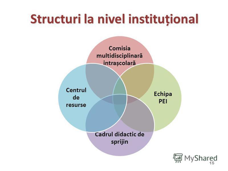 Structuri la nivel instituțional Comisia multidisciplinară intrașcolară Echipa PEI Cadrul didactic de sprijin Centrul de resurse 15