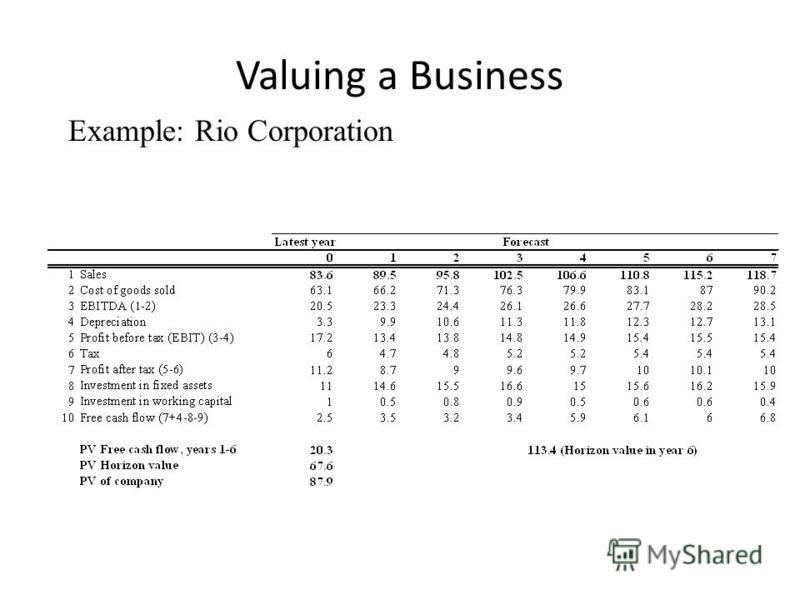 Valuing a Business Example: Rio Corporation