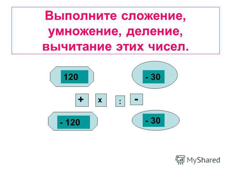Выполните сложение, умножение, деление, вычитание этих чисел. 120- 30 - 120 - 30 : + х -
