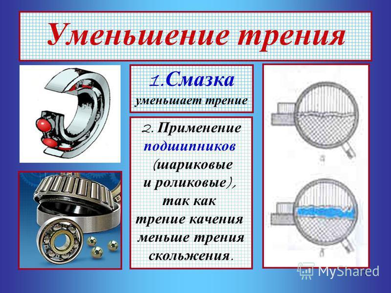 11 Уменьшение трения 1. Смазка уменьшает трение 2. Применение подшипников ( шариковые и роликовые ), так как трение качения меньше трения скольжения.