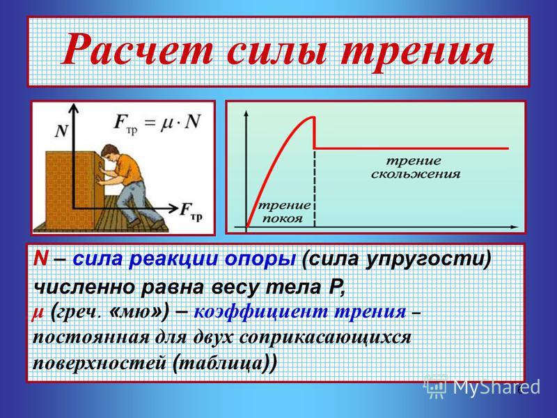 6 Расчет силы трения N – сила реакции опоры (сила упругости) численно равна весу тела Р, μ (греч. «мю») – коэффициент трения – постоянная для двух соприкасающихся поверхностей (таблица))