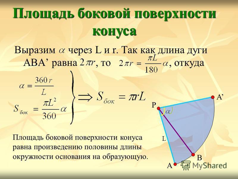 Выразим через L и r. Так как длина дуги АВА равна, то, откуда Площадь боковой поверхности конуса А В Р А L Площадь боковой поверхности конуса равна произведению половины длины окружности основания на образующую.