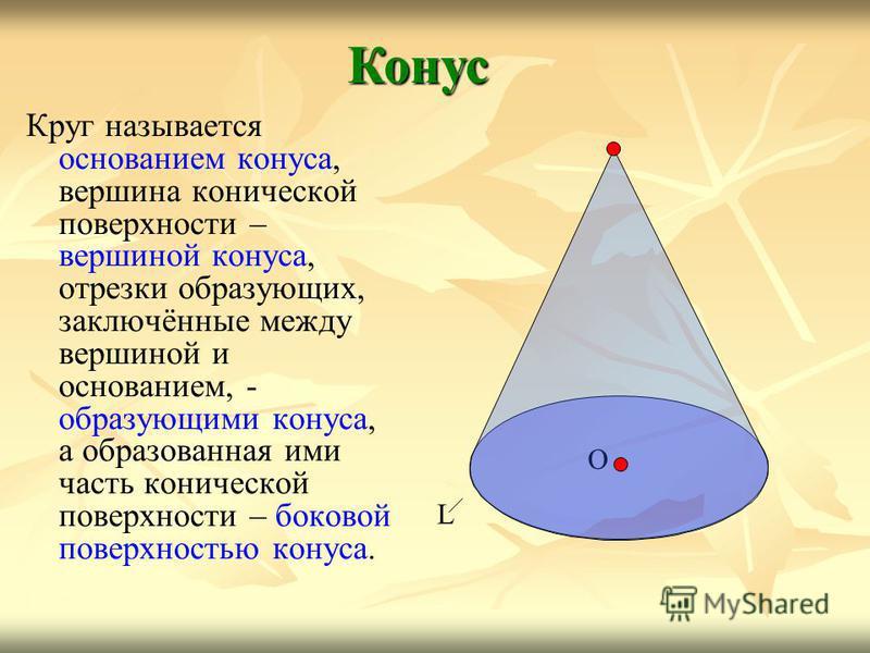 Круг называется основанием конуса, вершина конической поверхности – вершиной конуса, отрезки образующих, заключённые между вершиной и основанием, - образующими конуса, а образованная ими часть конической поверхности – боковой поверхностью конуса. Кон