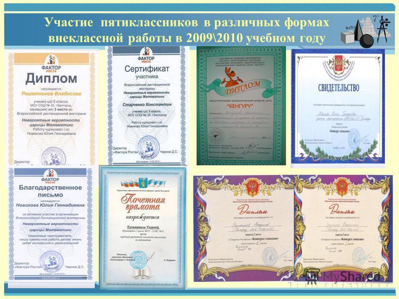 Участие пятиклассников в различных формах внеклассной работы в 2009\2010 учебном году