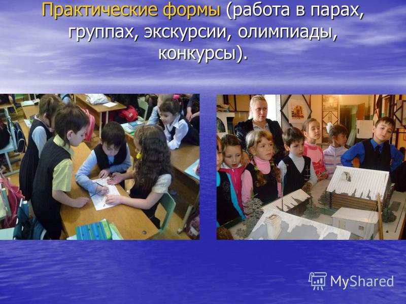 Практические формы (работа в парах, группах, экскурсии, олимпиады, конкурсы).
