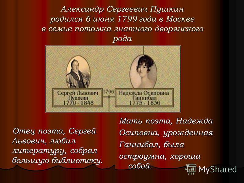 Мать поэта, Надежда Осиповна, урожденная Ганнибал, была остроумна, хороша собой. Отец поэта, Сергей Львович, любил литературу, собрал большую библиотеку. Отец поэта, Сергей Львович, любил литературу, собрал большую библиотеку. Александр Сергеевич Пуш