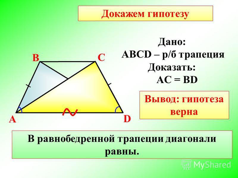 A В С D В равнобедренной трапеции диагонали равны. Дано: АВСD – р/б трапеция Доказать: АC = BD Докажем гипотезу Вывод: гипотеза верна