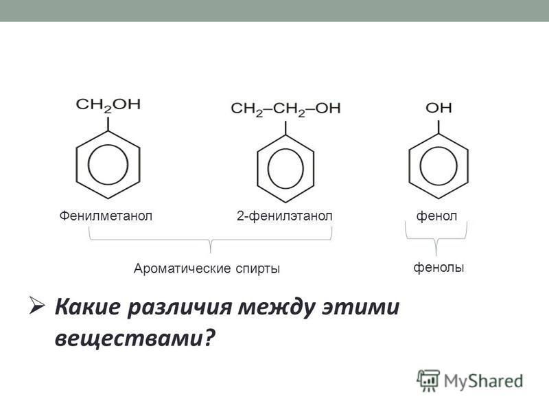 Фенилметанол 2-фенилэтанол фенол Какие различия между этими веществами? Ароматические спирты фенолы