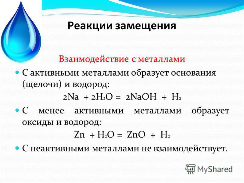 Реакции замещения Взаимодействие с металлами С активными металлами образует основания (щелочи) и водород: 2Na + 2H 2 O = 2NaOH + H 2 С менее активными металлами образует оксиды и водород: Zn + H 2 O = ZnO + H 2 С неактивными металлами не взаимодейств