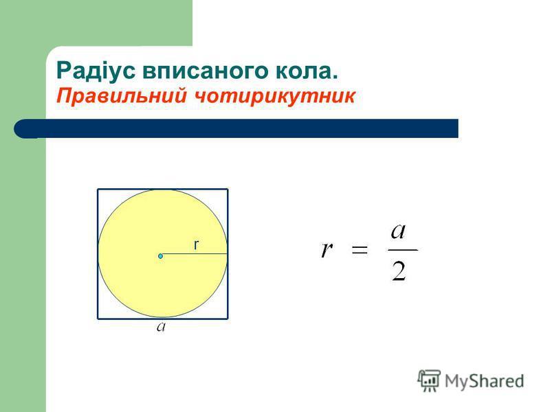Радіус вписаного кола. Правильний чотирикутник r