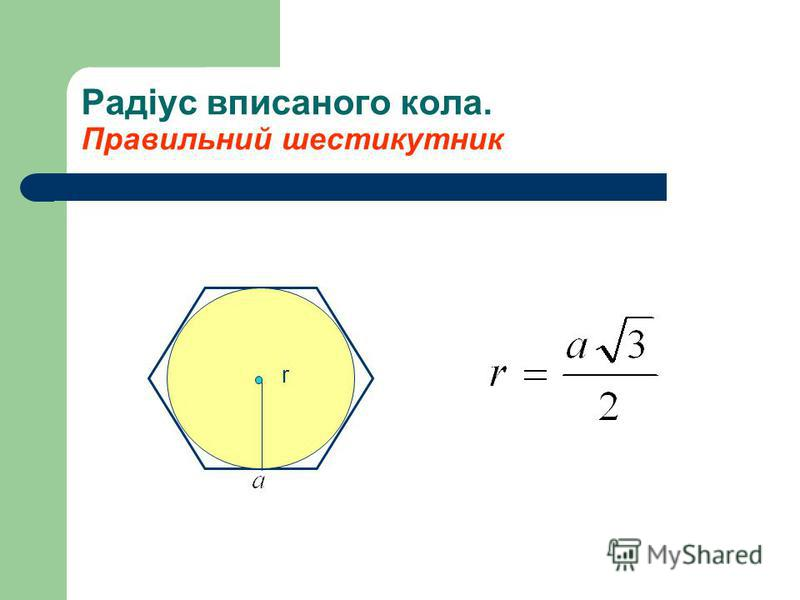 Радіус вписаного кола. Правильний шестикутник r