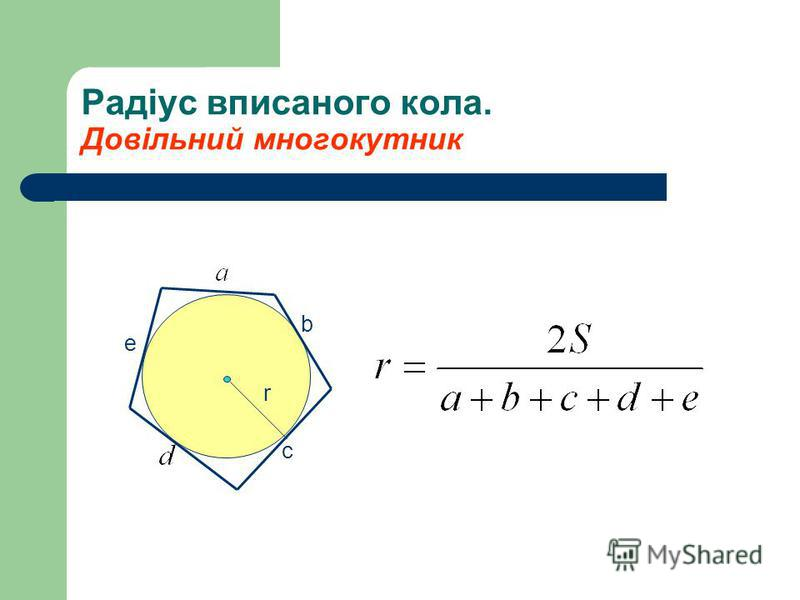 Радіус вписаного кола. Довільний многокутник r e b c