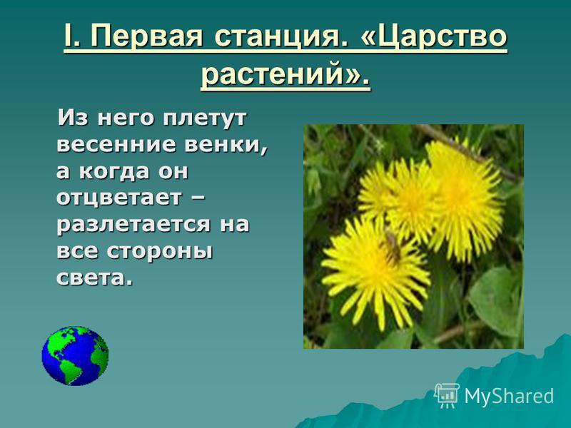 I. Первая станция. «Царство растений». Из него плетут весенние венки, а когда он отцветает – разлетается на все стороны света. Из него плетут весенние венки, а когда он отцветает – разлетается на все стороны света.