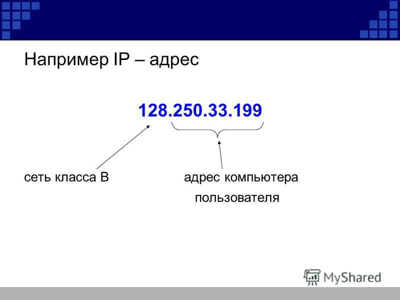 Например IP – адрес 128.250.33.199 сеть класса Вадрес компьютера пользователя