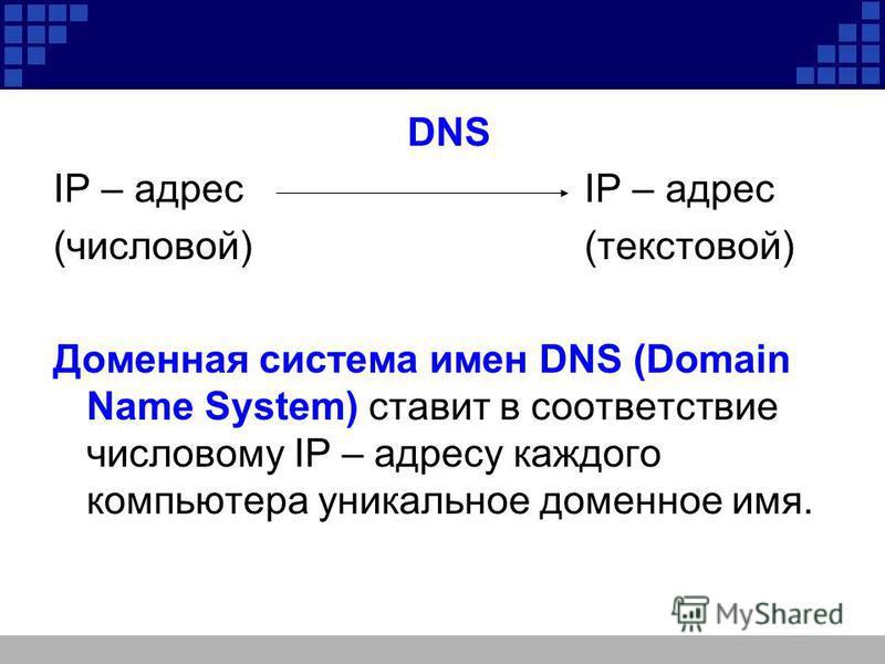 DNS IP – адрес (числовой)(текстовой) Доменная система имен DNS (Domain Name System) ставит в соответствие числовому IP – адресу каждого компьютера уникальное доменное имя.