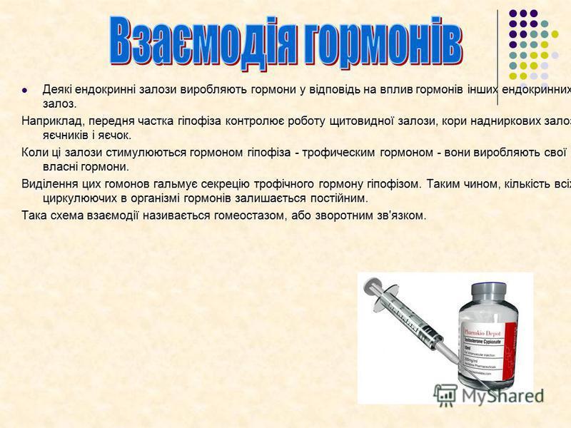 Деякі ендокринні залози виробляють гормони у відповідь на вплив гормонів інших ендокринних залоз. Деякі ендокринні залози виробляють гормони у відповідь на вплив гормонів інших ендокринних залоз. Наприклад, передня частка гіпофіза контролює роботу щи