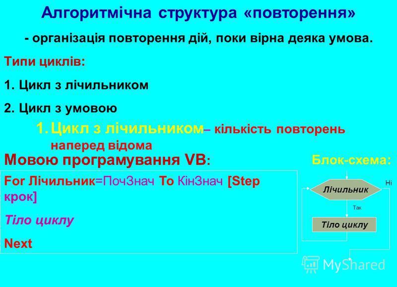 Алгоритмічна структура «повторення» - організація повторення дій, поки вірна деяка умова. Типи циклів: 1.Цикл з лічильником 2.Цикл з умовою Блок-схема: Мовою програмування VB : 1.Цикл з лічильником – кількість повторень наперед відома Лічильник Тіло