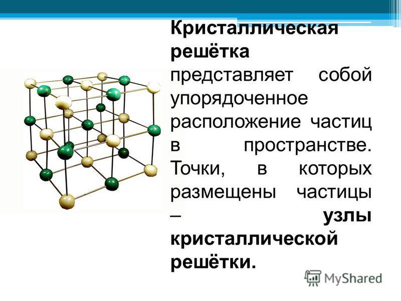 Кристаллическая решётка представляет собой упорядоченное расположение частиц в пространстве. Точки, в которых размещены частицы – узлы кристаллической решётки.