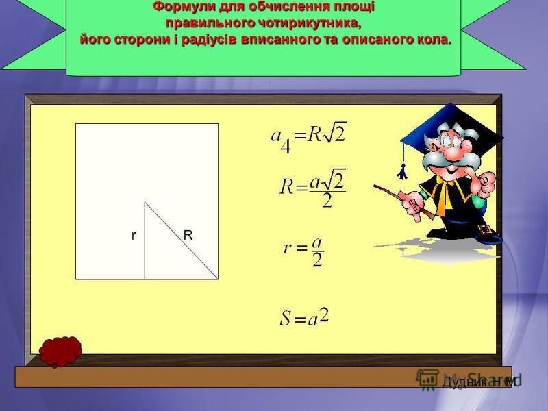 Формули для обчислення площі правильного чотирикутника, його сторони і радіусів вписанного та описаного кола. його сторони і радіусів вписанного та описаного кола. r Дудник Н.М. R