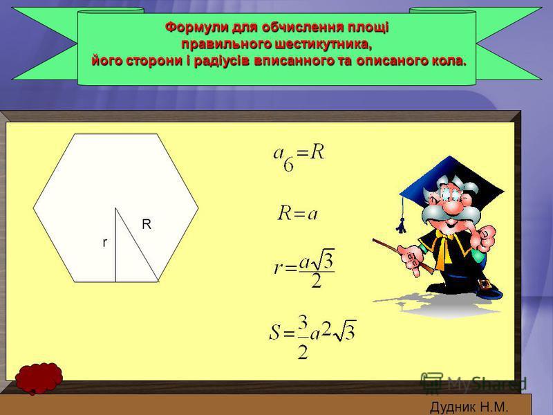 Формули для обчислення площі правильного шестикутника, його сторони і радіусів вписанного та описаного кола. його сторони і радіусів вписанного та описаного кола. Дудник Н.М. r R