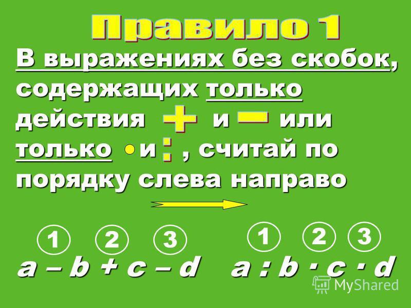 В выражениях без скобок, содержащих только действия и или только и, считай по порядку слева направо a – b + c – d a : b c · d 1 123 32
