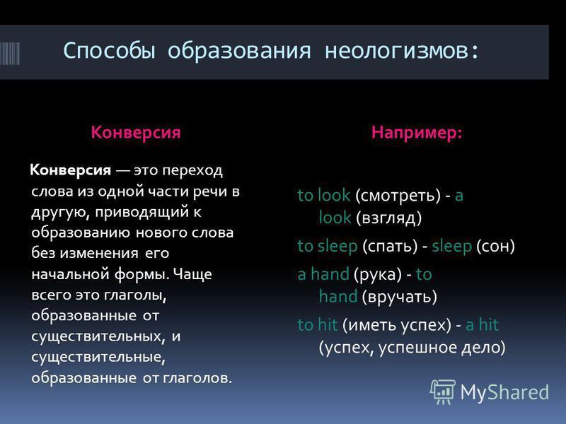 Способы образования неологизмов: Конверсия Например: Конверсия это переход слова из одной части речи в другую, приводящий к образованию нового слова без изменения его начальной формы. Чаще всего это глаголы, образованные от существительных, и существ