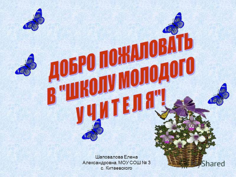 Шаповалова Елена Александровна, МОУ СОШ 3 с. Китаевского