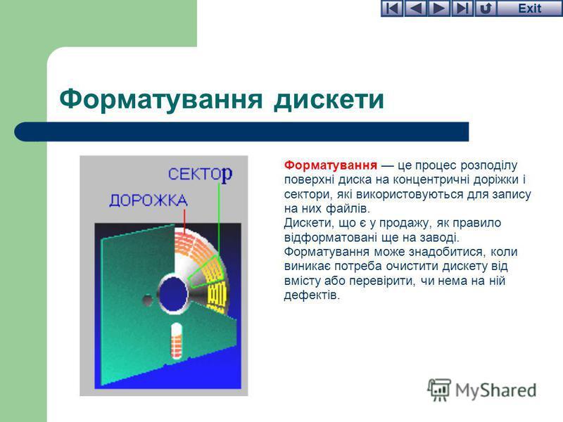 Exit Форматування дискети Форматування це процес розподілу поверхні диска на концентричні доріжки і сектори, які використовуються для запису на них файлів. Дискети, що є у продажу, як правило відформатовані ще на заводі. Форматування може знадобитися