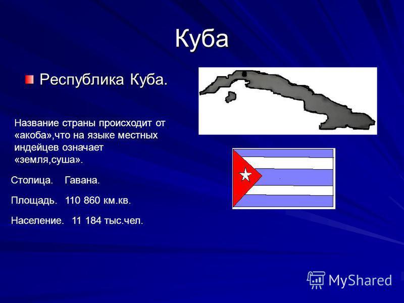 Куба Республика Куба. Название страны происходит от «якоба»,что на языке местных индейцев означает «земля,суша». Столица.Гавана. Площадь.110 860 км.кв. Население.11 184 тыс.чел.