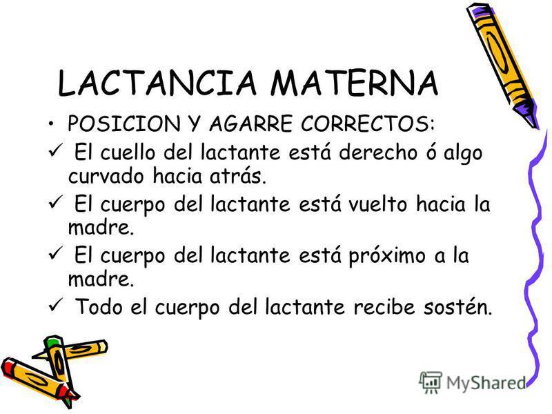 LACTANCIA MATERNA POSICION Y AGARRE CORRECTOS: El cuello del lactante está derecho ó algo curvado hacia atrás. El cuerpo del lactante está vuelto hacia la madre. El cuerpo del lactante está próximo a la madre. Todo el cuerpo del lactante recibe sosté