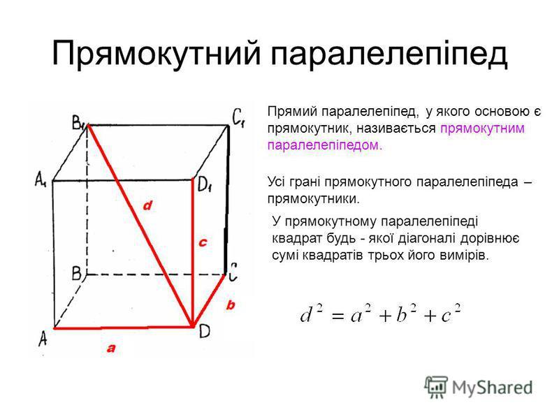 Прямокутний паралелепіпед Прямий паралелепіпед, у якого основою є прямокутник, називається прямокутним паралелепіпедом. Усі грані прямокутного паралелепіпеда – прямокутники. У прямокутному паралелепіпеді квадрат будь - якої діагоналі дорівнює сумі кв