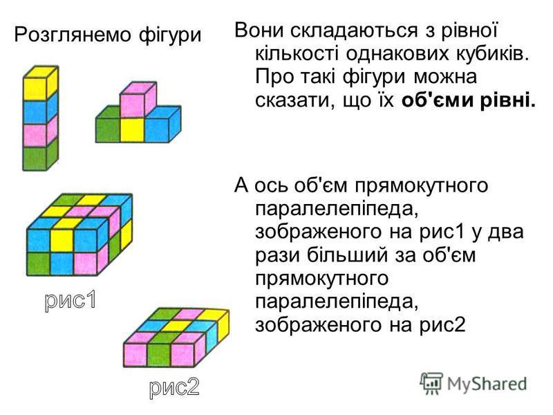 Розглянемо фігури Вони складаються з рівної кількості однакових кубиків. Про такі фігури можна сказати, що їх об'єми рівні. А ось об'єм прямокутного паралелепіпеда, зображеного на рис1 у два рази більший за об'єм прямокутного паралелепіпеда, зображен